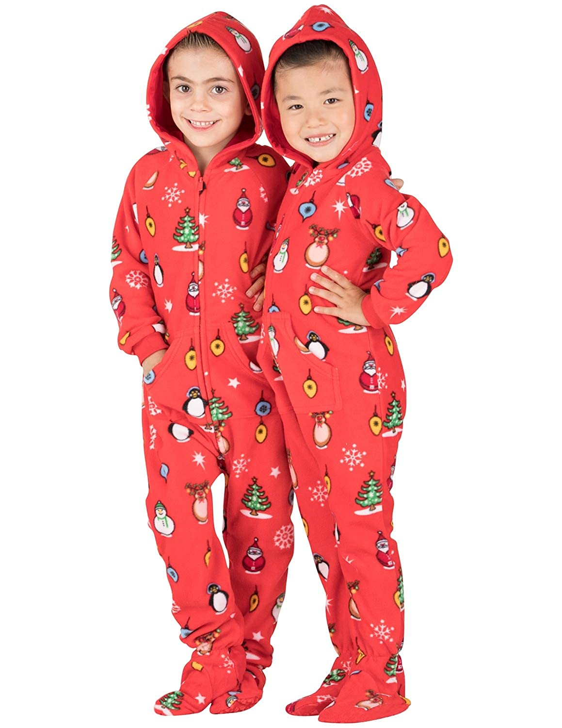 Christmas Footie Pajamas For Kids.Footed Pajamas Family Matching Red Christmas Hoodie Onesies For Boys Girls Men Women And Pets