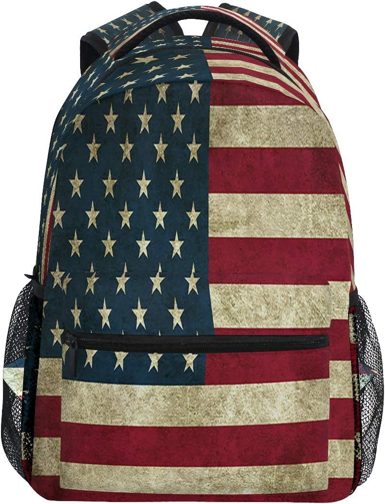Classic 4Th of July American Flag Travel Laptop Backpack Rustic Patriotic USA Flags Boy Girl Kids School Bag Bookbag 14 inch Laptop Backpack Camping Travel Outdoor Daypack Shoulder Bag