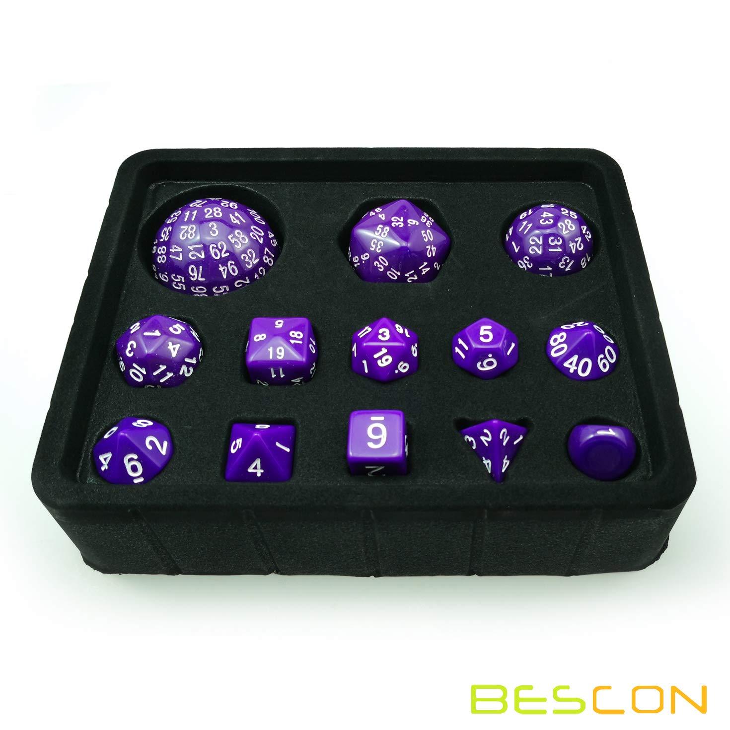 Bescon Complete Polyhedral RPG Dice Set 13pcs D3-D100 100 Sides Dice Set Solid Purple BESCON DICE