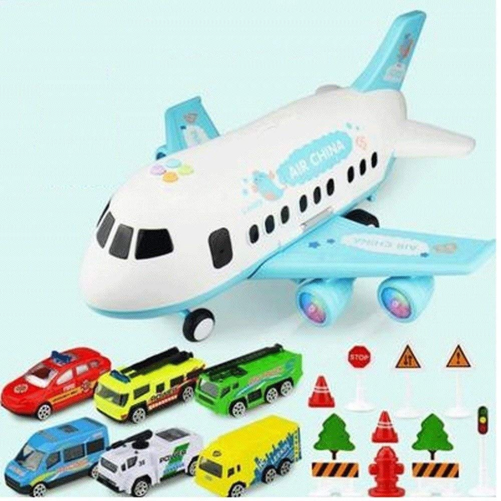 Zenghh Children's Toys Large Aircraft Simulation Orbit Inertial Music Story Simulation Passenger Aircraft Flight Storage Vehicle Model Multiplayer Game (3 Themes, 18 Sets) ( Color : Light Blue ) by Zenghh