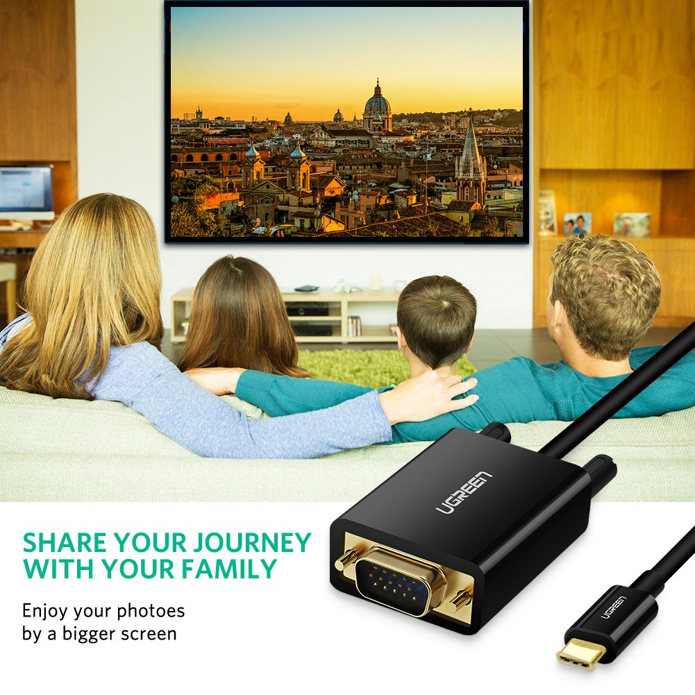 UGREEN C/âble USB C vers VGA 1080P 60Hz Thunderbolt 3 Compatible C/âble USB 3.1 Type C /à VGA Compatible avec Macbook Pro 2017 2016 Huawei P20 Mate 20 Pro 2M Noir Samsung Galaxy Book S8 S9