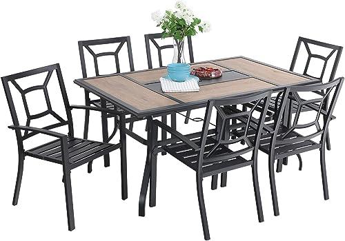 Sophia William Patio Dining Set 7 Pieces Metal Outdoor Furniture Set