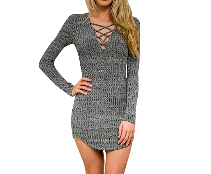 Angelato women knitted dresses long sleeve v neck lace up sweater