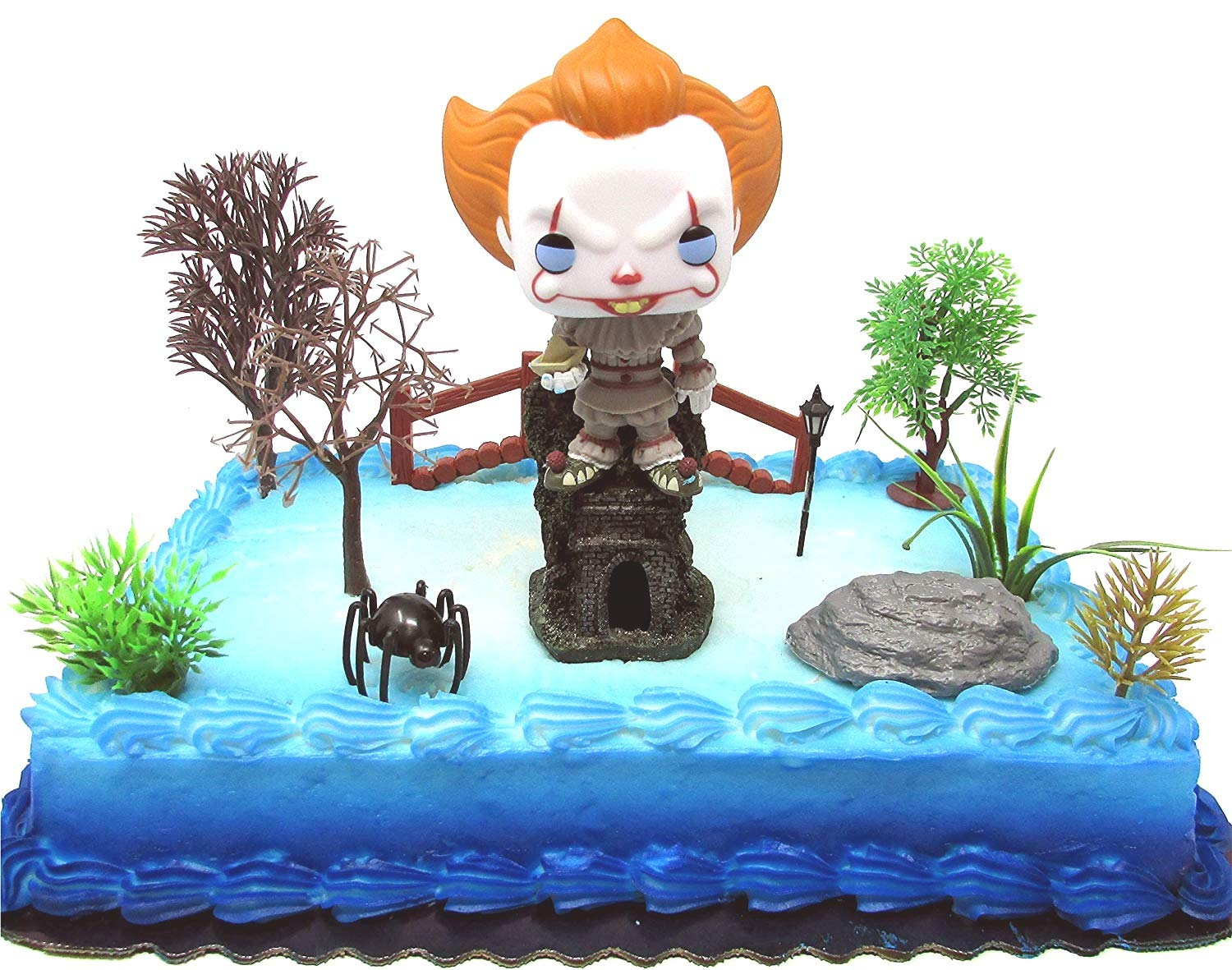 IT Pennywise the Clown Birthday Cake Topper Set Featuring Pennywise and Decorative Themed Accessories
