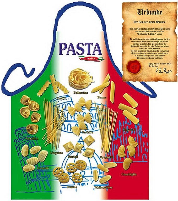 Italiano Cocinar – La Cucina Italiana grembiule: Tallarines. Pasta de Tricolore – Regalos Delantal cocina mediterránea One Size, multicolor con Gratis ...