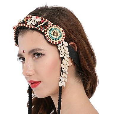 Dance Fairy Tribal Headbands Shell Braid Headrope Wig Headdress   Amazon.co.uk  Clothing 675ce718268