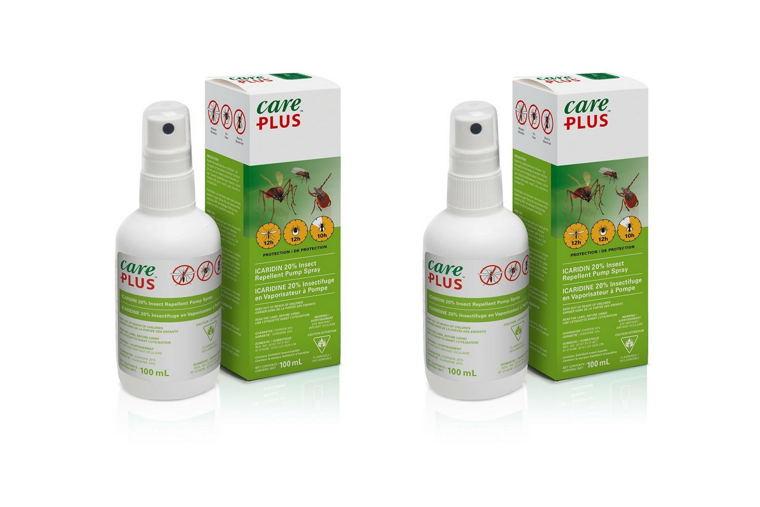 care plus 20% icaridin insect repellent - 100ml spray pump (2-pack) care plus 20% icaridine anti-insectes – 100 ml spray pompe (2-pack)