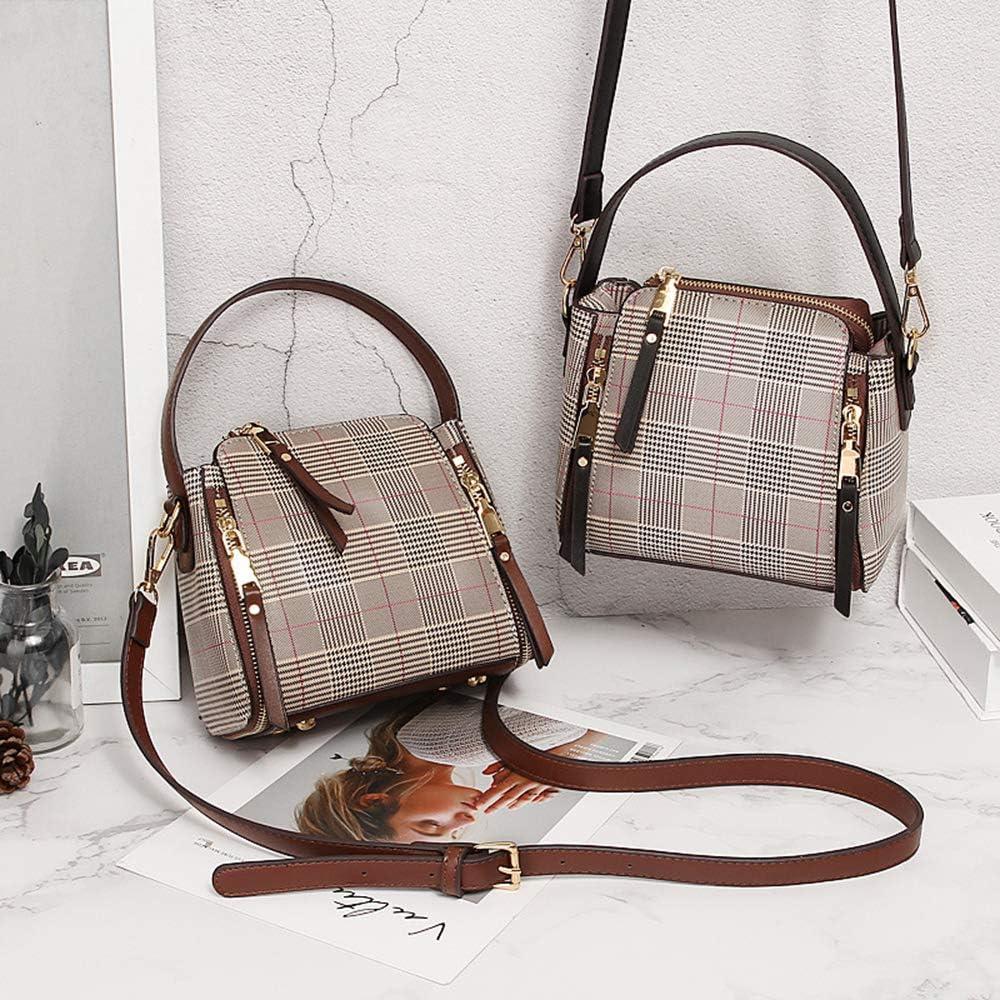 Small Crossbody Bags Zipper Plaid Shoulder Bag for Women Stylish Ladies Handbags Cell Phone Purse Wallet
