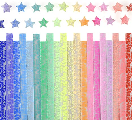 Caydo Luminous Origami Stars Papers Package 600 Sheets 20 Colors (Glows in The Dark)