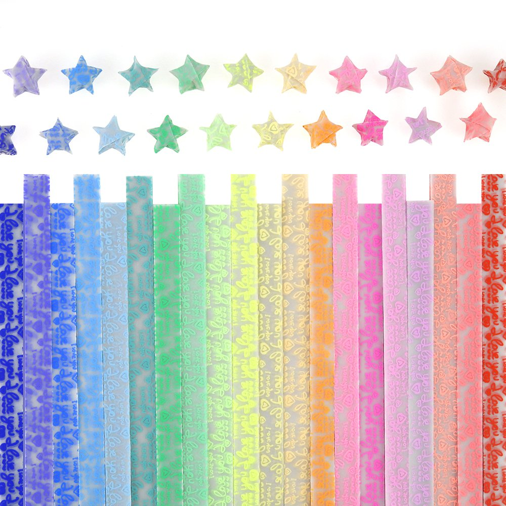 Caydo Luminous Origami Stars Papers Package 600 Sheets 20 Colors(Glows in the Dark) 4336880685