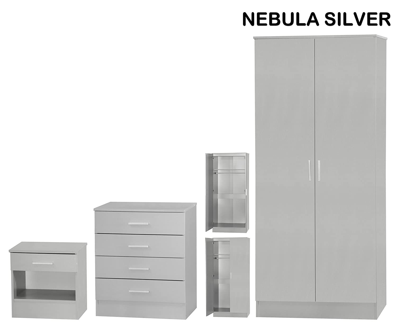 Nebula Silver 3 piece bedroom set bedside, chest, wardrobe (Silver) Ark Furniture Wholesale