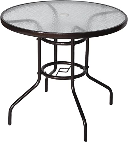 Cloud Mountain 32 Outdoor Dining Table Patio Tempered Glass Table Patio Bistro Table Top Umbrella Stand Round Table Deck Garden Home Furniture Table, Dark Chocolate