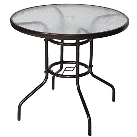 Cloud Mountain 32u0026quot; Outdoor Dining Table Patio Tempered Glass Table  Patio Bistro Table Top Umbrella