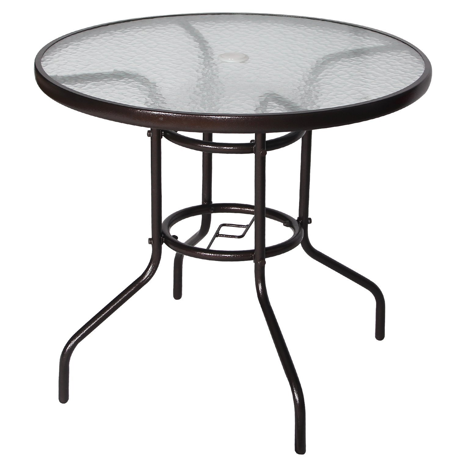 Cloud Mountain 32'' Outdoor Dining Table Patio Tempered Glass Table Patio Bistro Table Top Umbrella Stand Round Table Deck Garden Home Furniture Table, Dark Chocolate