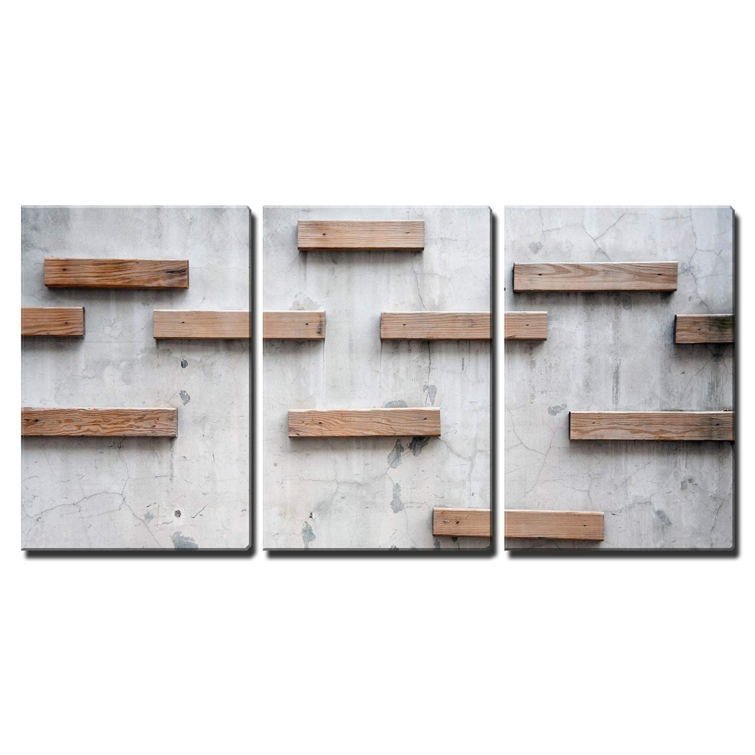 wall26 - 3 Piece Canvas Wall Art - Wood Texture with Nature Form - Modern Home Decor Stretched and Framed Ready to Hang - 24''x36''x3 Panels