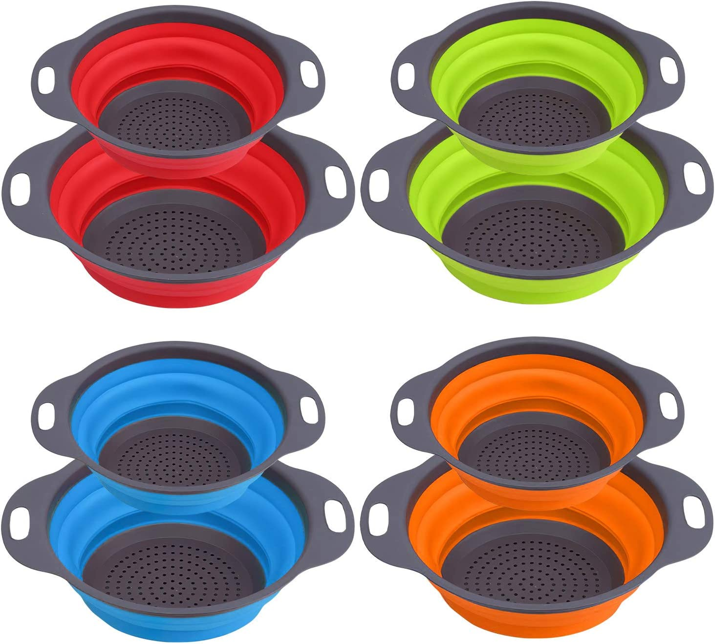 Hedume Set of 8 Collapsible Colander, Food-Grade Silicone Kitchen Space Saver Folding Strainer Colander Set - 4 pcs 8 in and 4 pcs 9.5 in - Perfect for Draining Pasta, Vegetable and Fruit