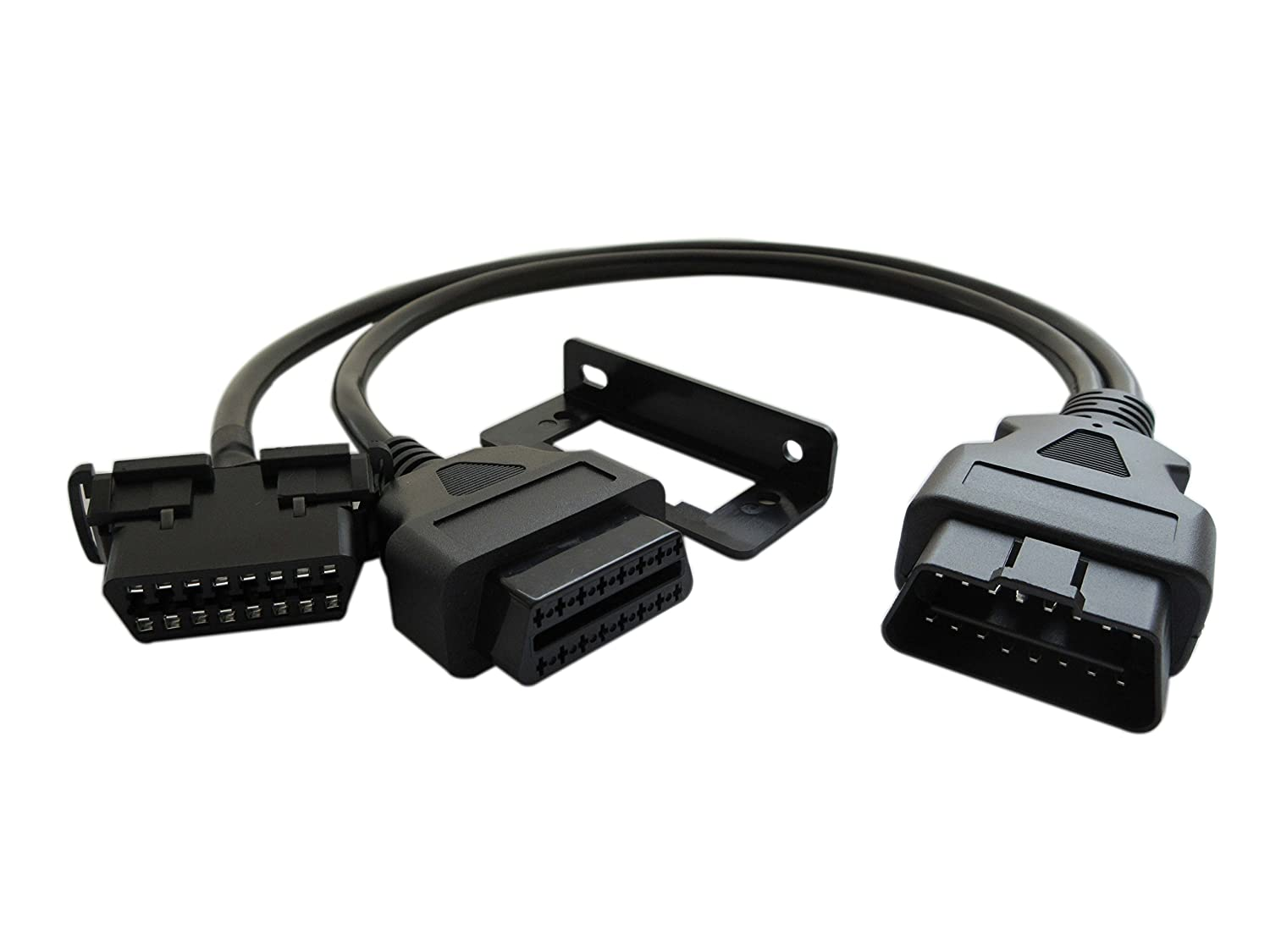 Fotag 16pin Male To Female Obd2 Obdii Y Adapter Toyota Obd Connector Location Diagnostic Splitter Cable With Underdash Bracket For All Car 50cm Automotive