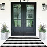 Buffalo Plaid Rugs Cotton Black and White Check Rug 35.4'' x 59''Hand-Woven Indoor/Outdoor Area Rug for Welcome Door Mat, Fro