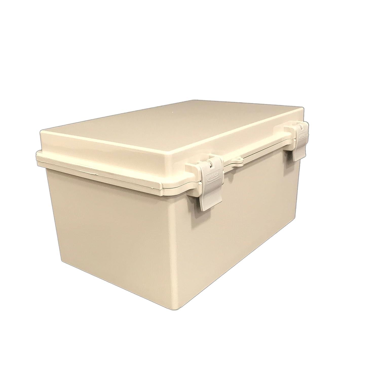 "BUD Industries NBF-32018 Plastic ABS NEMA Economy Box with Solid Door, 11-51/64"" Length x 7-55/64"" Width x 6-9/32"" Height, Light Gray Finish"