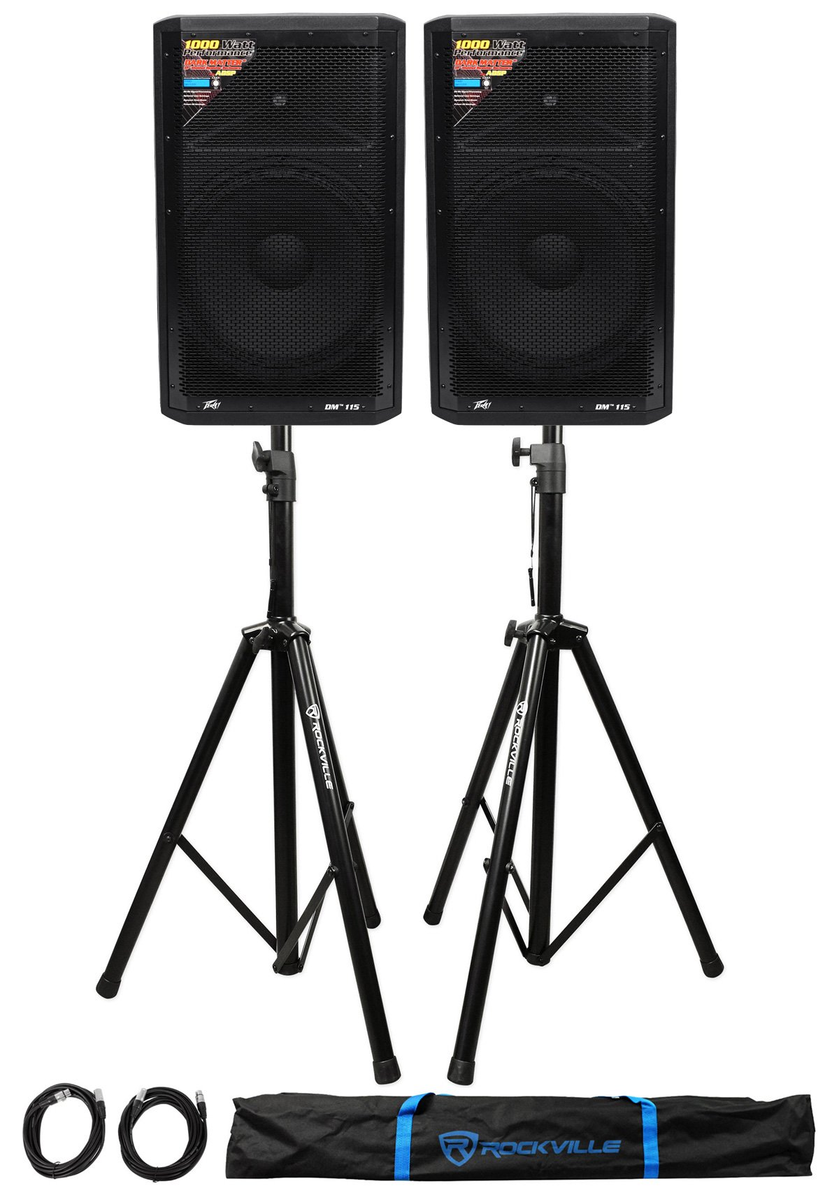 (2) Peavey DM 115 15'' 1000W Powered PA Speakers+Stands+Cables+Bag
