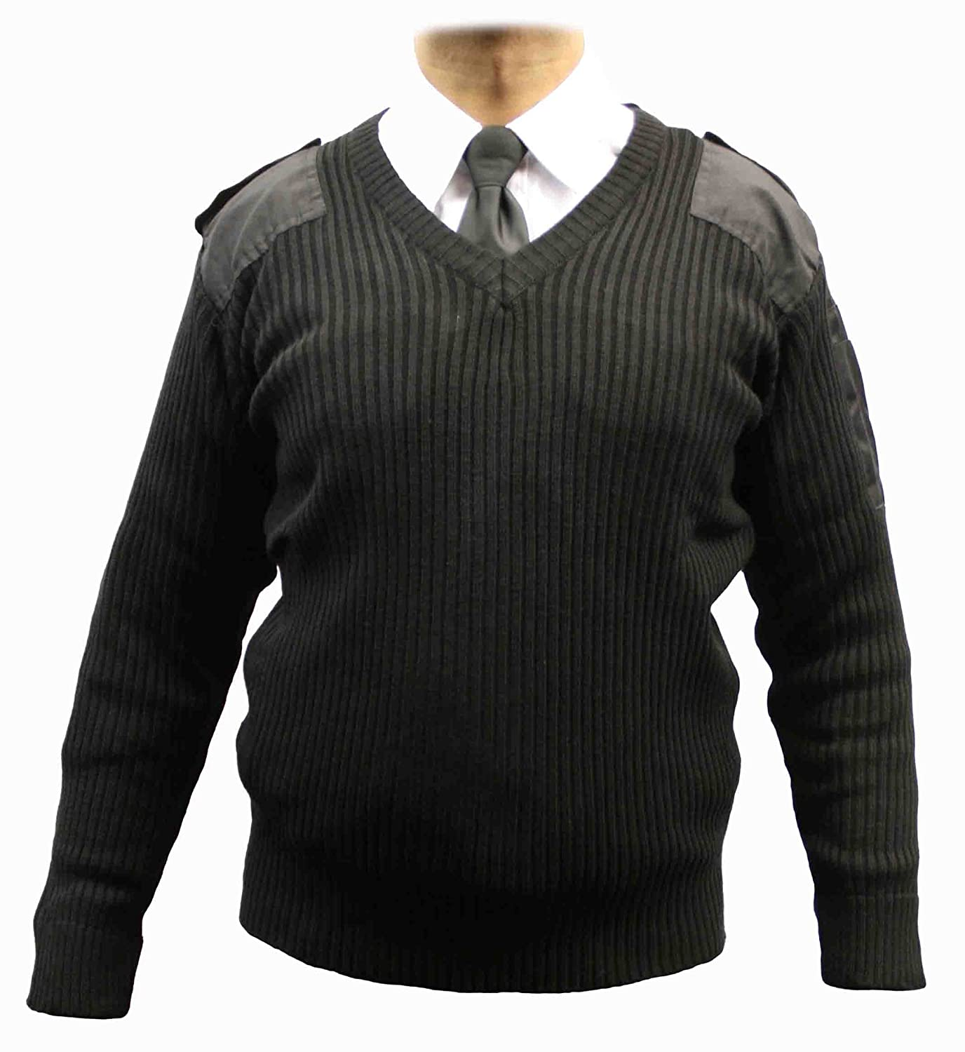 Adults Military Army Security Pullover Jumper Sweater V-Neck