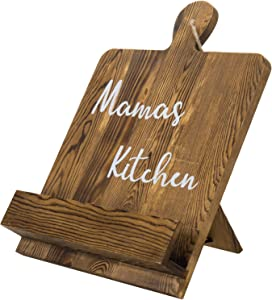 "MyGift Rustic Dark Brown Burnt Wood Cookbook Recipe Holder Rack Stand with White Cursive""Mama's Kitchen"" Text"