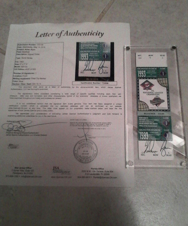 Nolan Ryan Autographed Signed World Seriesphantomticket/JSA Authentic