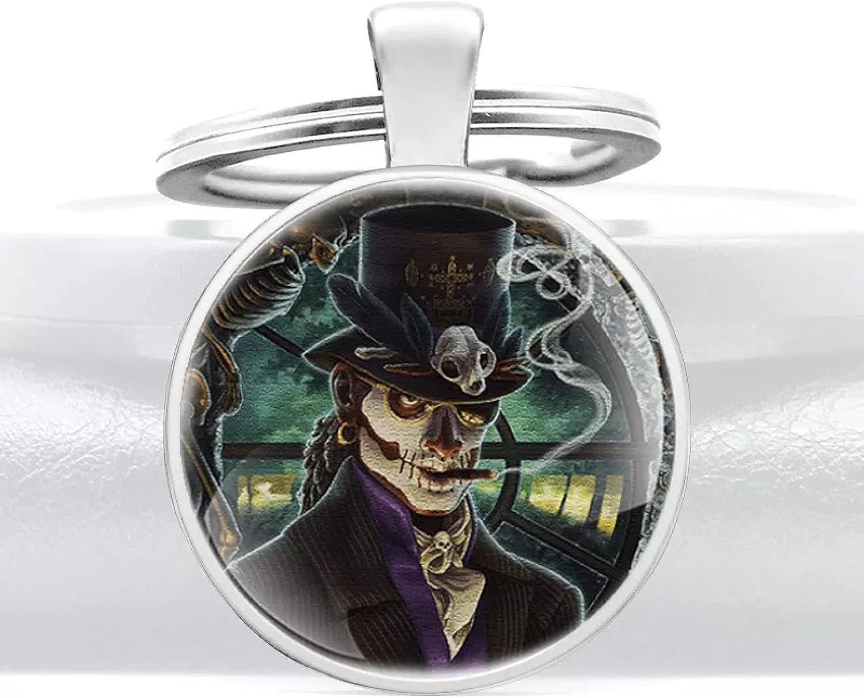 TOBENOI Clásico Baron Skull Glass Dome Key Chain Steampunk Skeleton Hombres Mujeres Joyería Llaveros