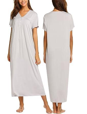 Ekouaer Button Front Maxi Nightgown Long Nightwear for Women Plus  Size 54c980136
