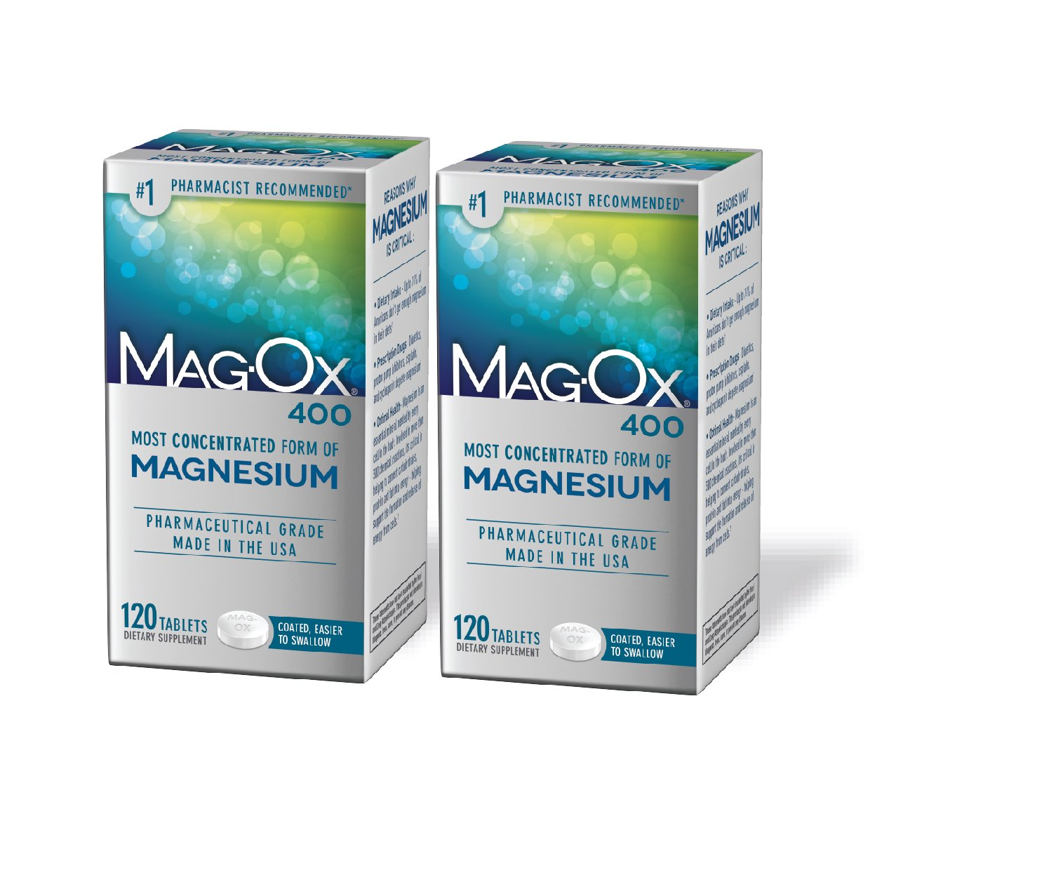 Mag-Ox Magnesium Supplement, Magnesium Oxide Metabolism Booster, 120 Count, 2 Pack