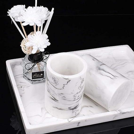 Zahnb/ürstenhalter Tablett mit Seifenspender Bechern 6-teiliges Badzubeh/örset aus Kunstharz im nordischen Stil Seifenschale EAHKGmh Badset Color : Beige