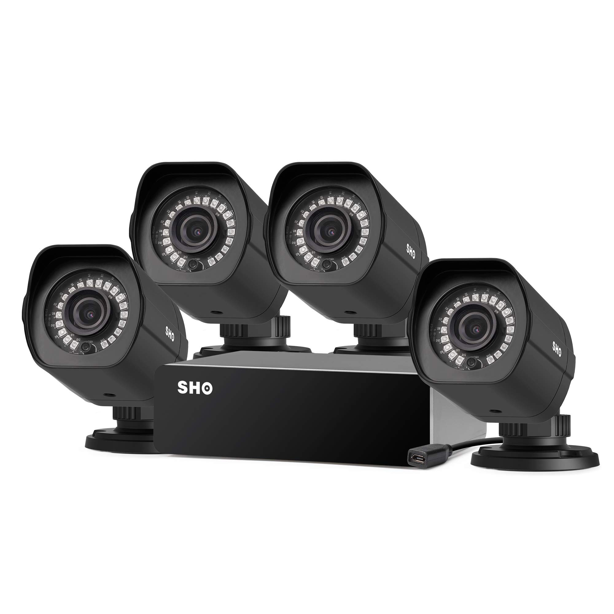 SHO 8 Channel Repeater sPoE Security Camera System 4 Pack Full HD 1080p Outdoor Wired Security Camera, Remote Monitoring, (NVR not Included)-[Free 6-Month Cloud Service for Recording]
