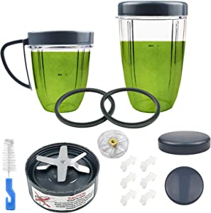 15 Pieces Blender Replacement Parts Extractor Blade And Cups for NutriBullet 600w 900w including Gasket Shock Pad and Gear (15 Pieces (1 Blade + 2 Cups + 2 Lids))