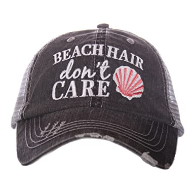 Amazon.com  Katydid Beach Hair Don t Care Shell Women s Trucker Hat ... 9374db5cbd3