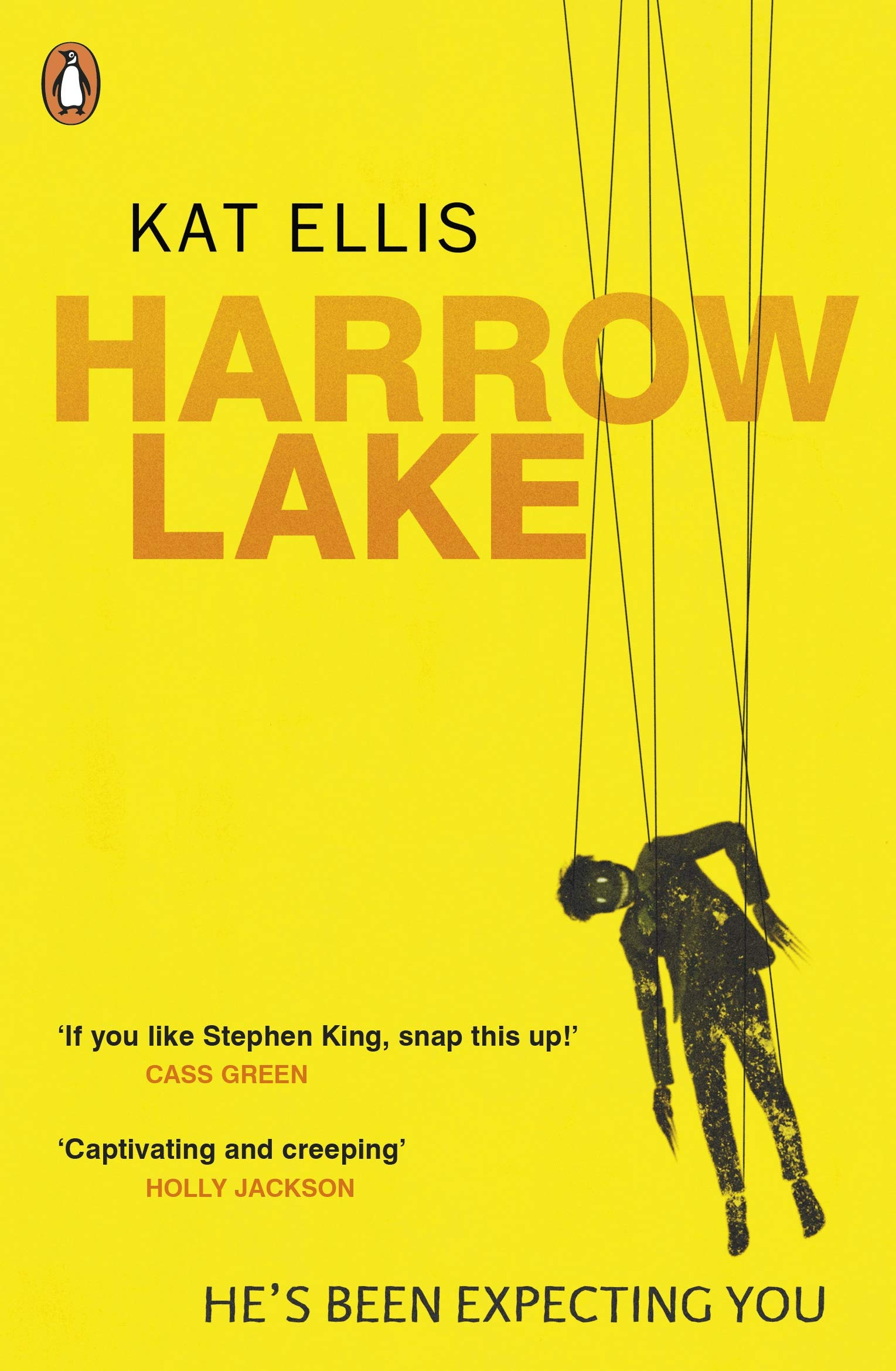 Harrow Lake's UK cover, yellow with orange text and Mister Jitters puppet