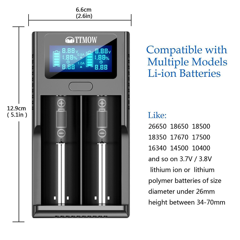 TTMOW Li-ion Cargador de Batería con 2 Ranuras Inteligente y Pantalla LCD, Litio 3.7V Compatible Rápido con : 26650, 17500, 18650, 16340, 14500, 10440 ...