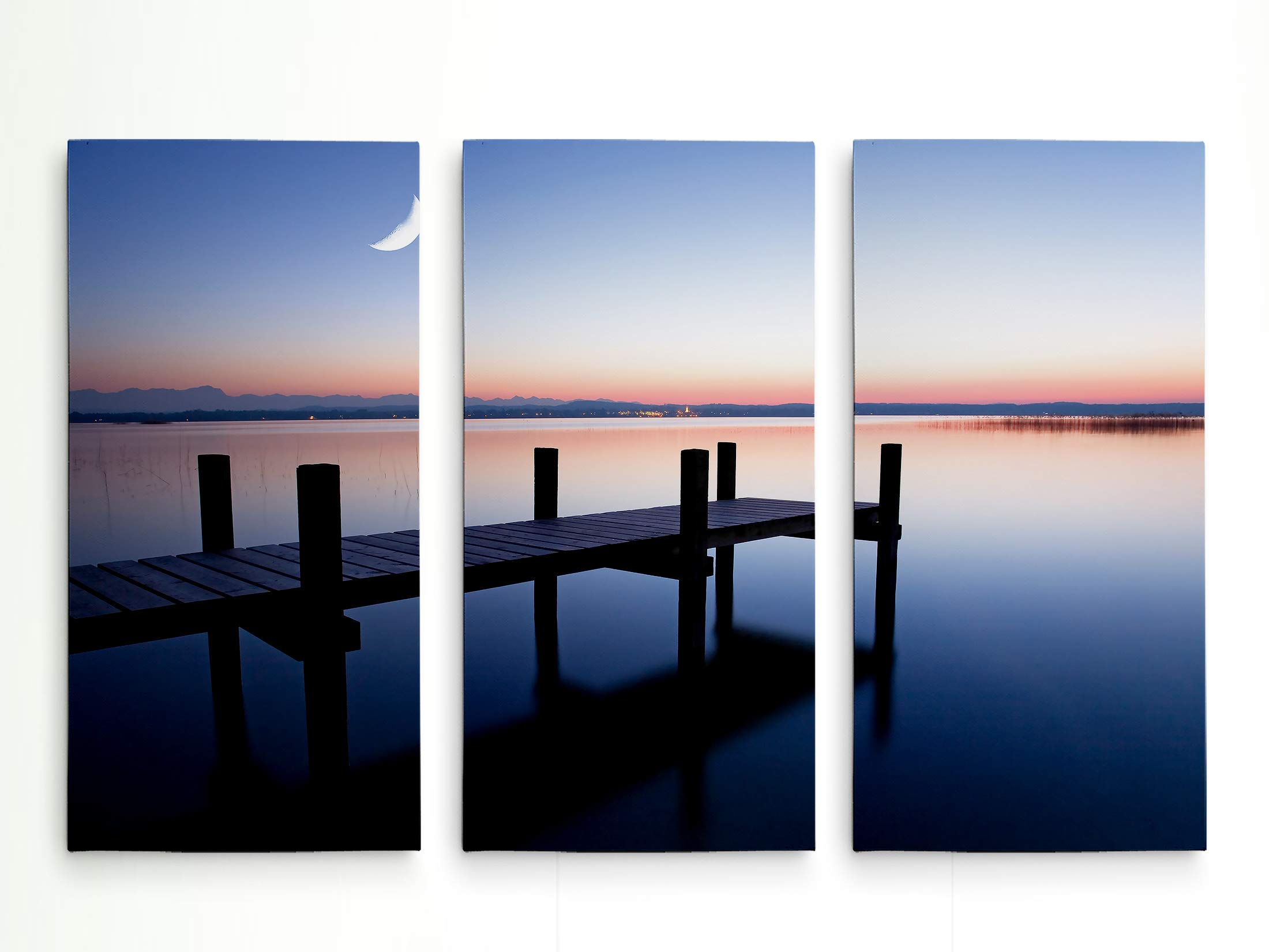 Renditions Gallery Magic Hour' Gallery Wrapped Canvas 3 Panel Nautical Wall Art, 12x24x3 by Renditions Gallery