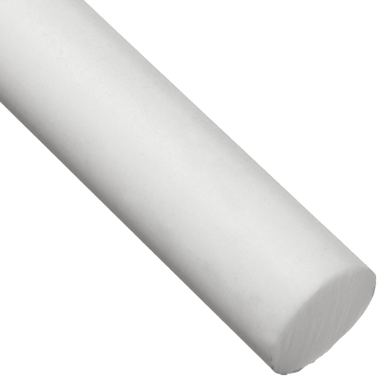 1-1//4 Inch Diameter Long Made in USA 1 Ft PTFE Virgin Plastic Rod White