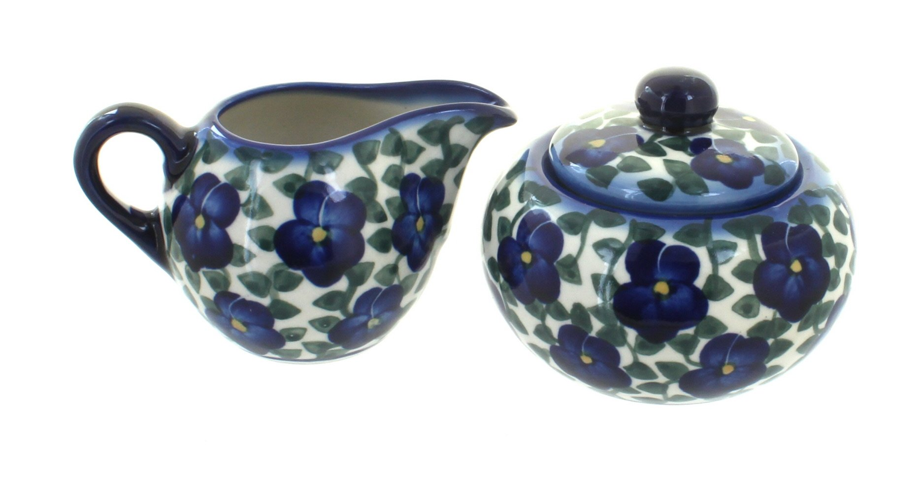 Blue Rose Polish Pottery Violets Sugar Bowl & Creamer