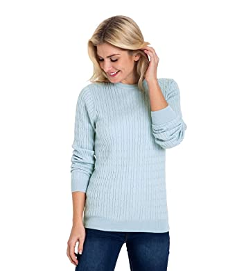 54644234a80 Woolovers Womens Cashmere and Cotton Cable Crew Neck Knitted Sweater Pale  Blue
