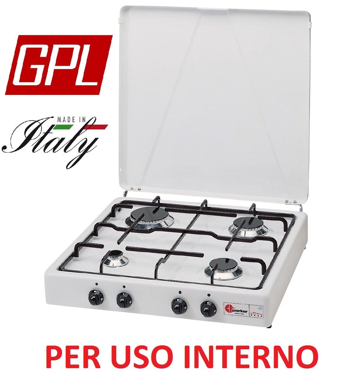 Gaskocher sicherheitsöffnungsventil Parker A GAS GPL (Gasflaschen) mit 4 flammig Farbe Weiß und Schwarz – für Verwendung Innen -