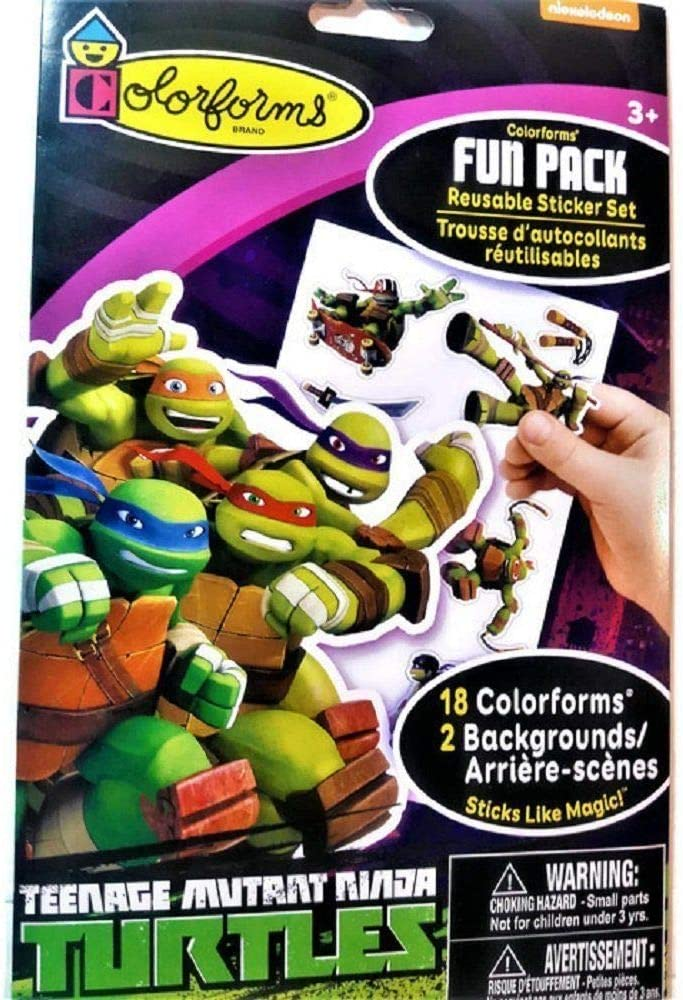 Teenage Mutant Ninja Turtles Colorforms Fun Pack Reusable Sticker Set, 18 Colorforms 2 Backgrounds