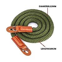 Universal Vintage Camera strap Handmade Soft Cotton Shoulder Neck Belt Strap for Leica Canon Nikon Fuji Olympus Lumix Sony ,Dark green.