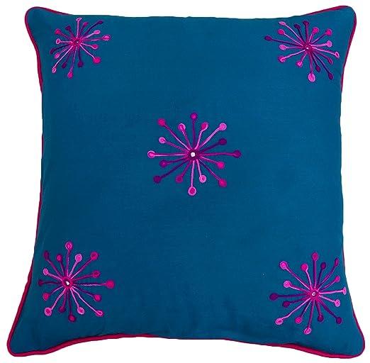 S4Sassy algodón floral bordado azul de almohada cubierta Cojín cuadrado cubierta decoración del hogar-14 x 14 pulgadas