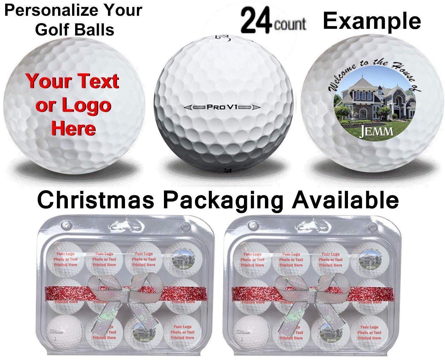 Titleist 2 Dozen 24 Personalized Prov 1 Refinished Golf Balls Upload Your Own Text Or Image Now in Christmas Ribbon Packaging