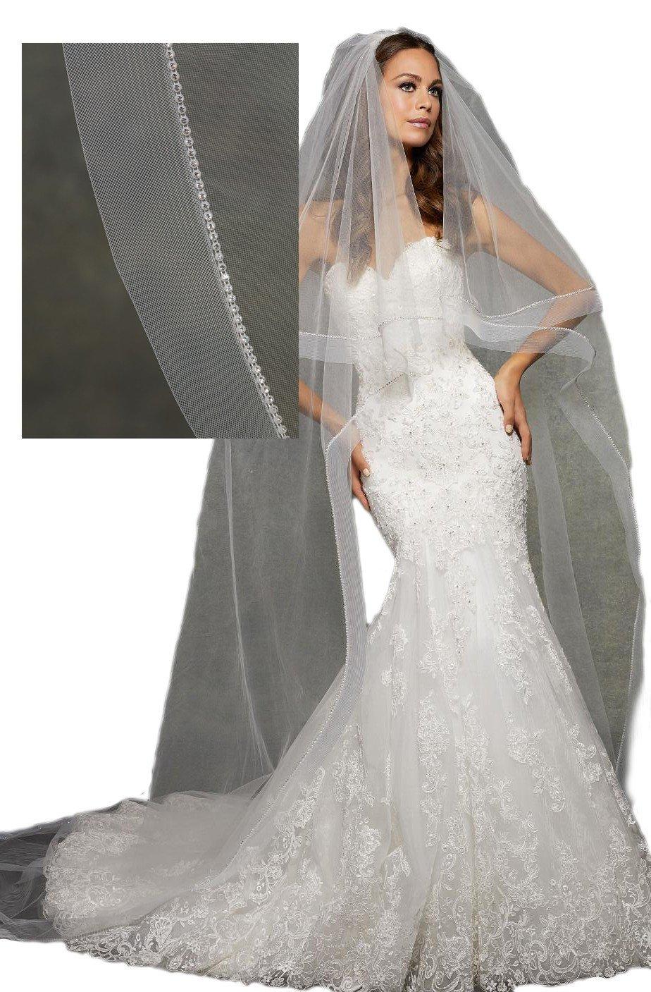 Passat Diamond White Single-Tier 3M Cathedral Wedding Bridal Veil Circular Veil Edged with Rhinestones and Horsehair VL1055