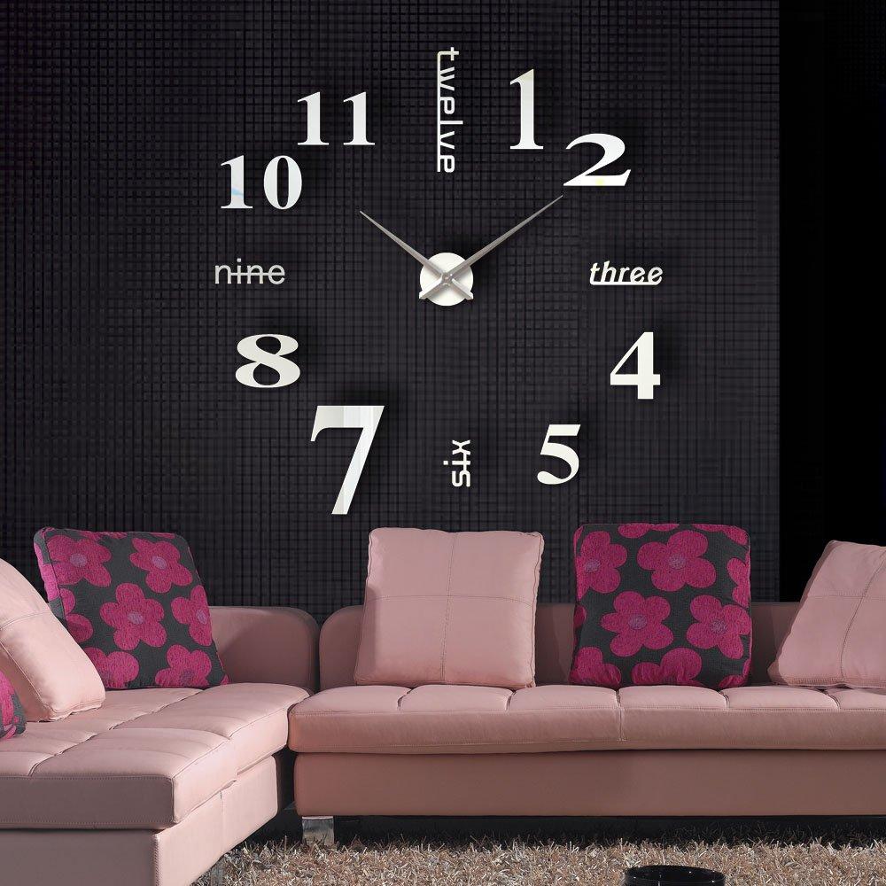 Anself Modern Wall DIY orologio Grande Guarda Decor Adesivi effetto specchio acrilico decalcomania domestica di vetro rimovibile Decoration VDTAZ012