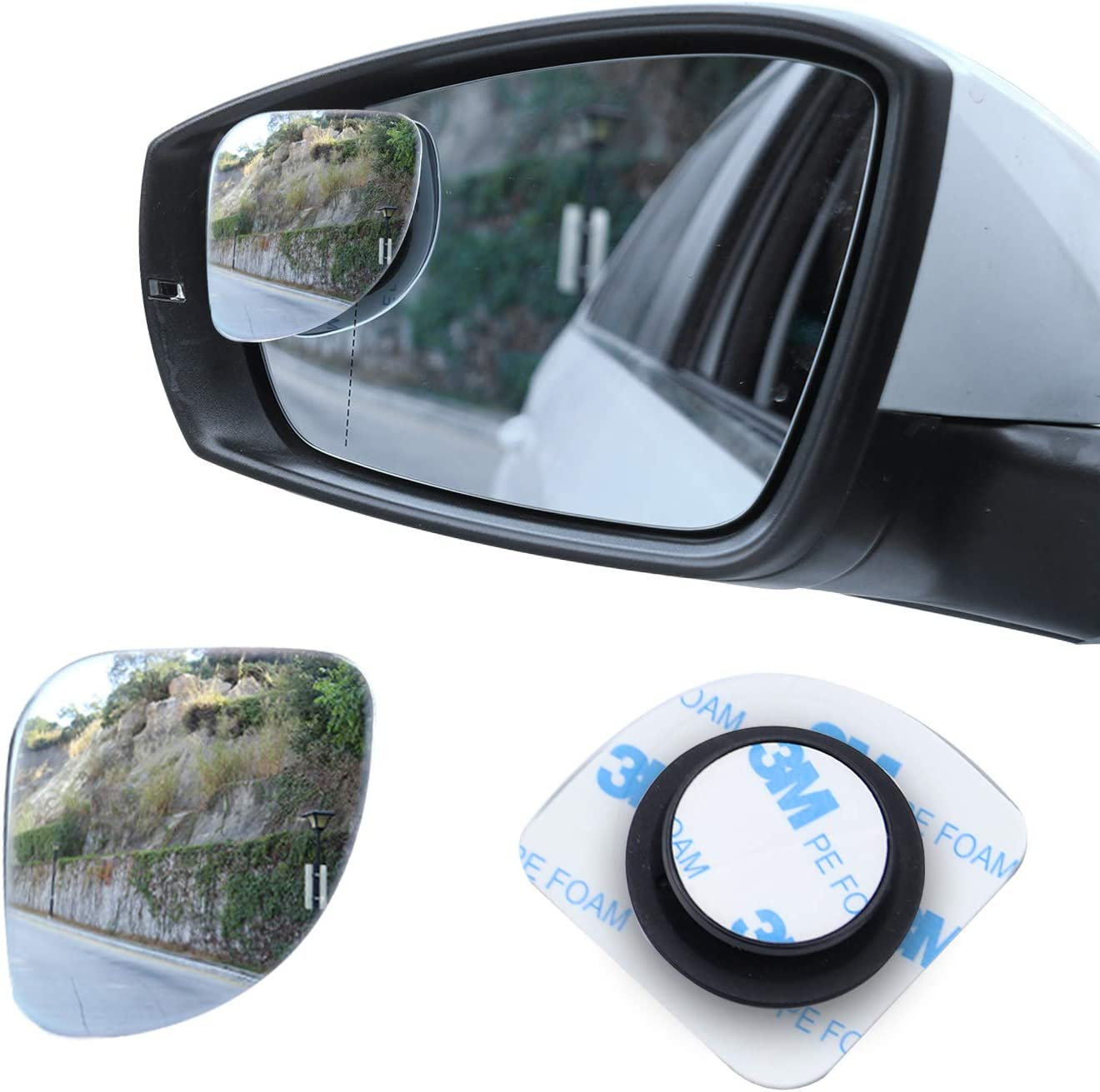 4 Pack Blind Spot Mirror 360/° Rotation Adjustable or Fixed Installed Kribin HD Glass Wider View Frameless Convex Rear View Mirrors Stick on