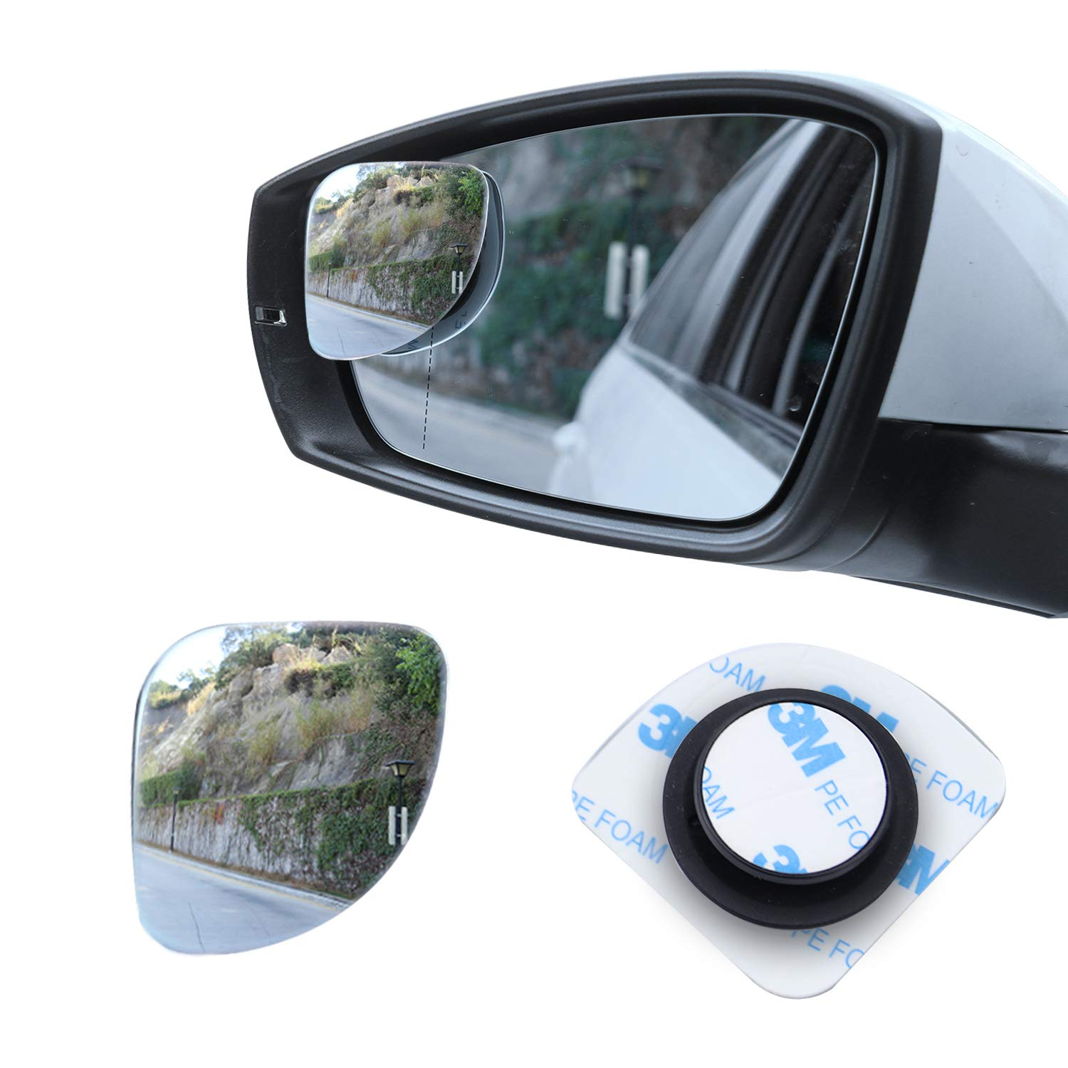 Pack of 2 LivTee Blind Spot Mirror,Fan Shaped 2.5/'/' HD Glass Frameless Convex Rear View Mirror with wide angle Adjustable Stick for Cars SUV and Trucks
