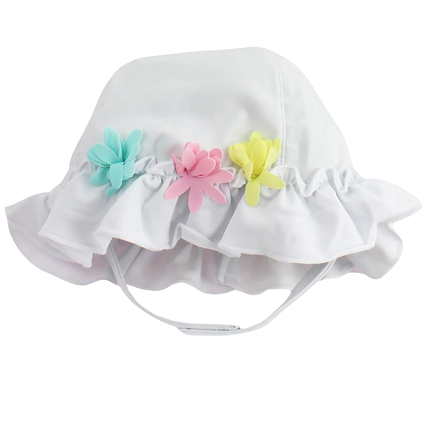 Amazon.com  Little Me White with Flowers Baby Girls Quick Dry Sun Hat for  Swimming 3-9 mths  Baby 91515fbed00